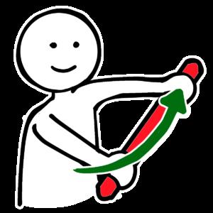 棒体操のイラストです。体をひねる動き(回旋)をします。このイラストは無料のフリー素材なので誰でも使えます。