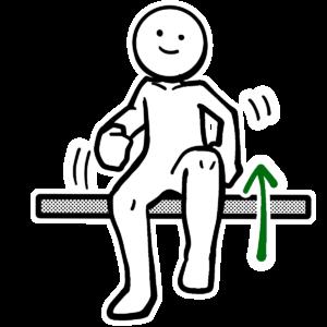 座って足踏みをしている人のイラスト